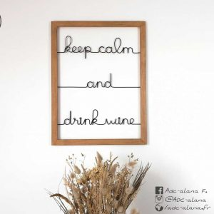 "Cadre ""keep calm and drink wine"""