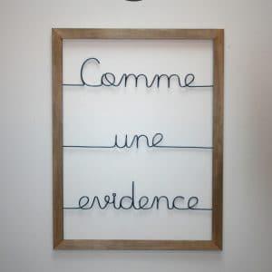 """Cadre bois """"Comme une évidence"""""""