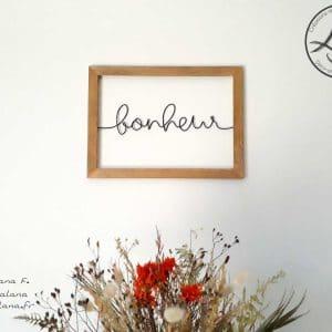 """Cadre bois """"bonheur"""""""